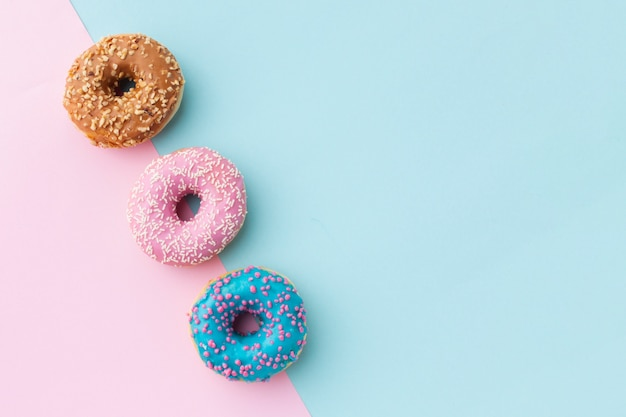 Glazed donuts with copy space Free Photo