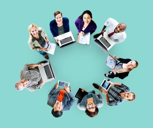 Global communications technology laptop digital devices concept Premium Photo
