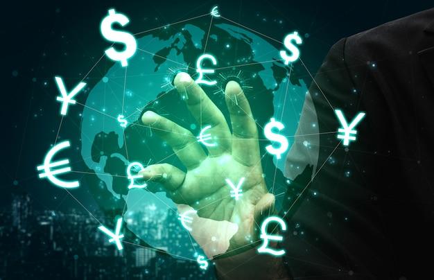 Обмен валют global money money финансы. Premium Фотографии