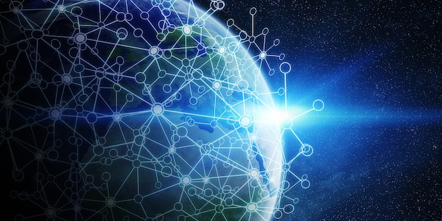 Global network and data exchange over the world Premium Photo