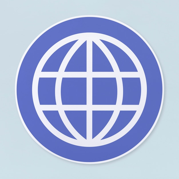 Global searching icon on white background Free Photo