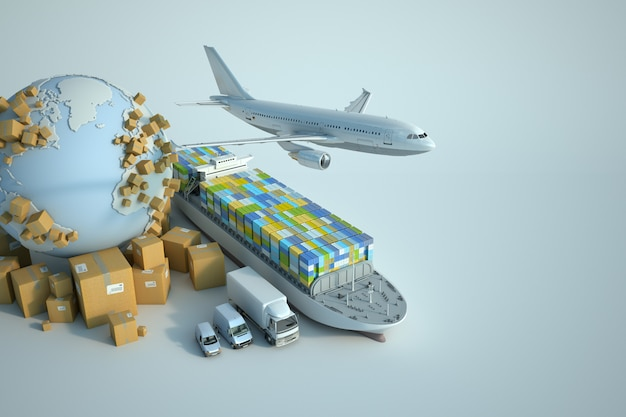 Global transportation industry Premium Photo