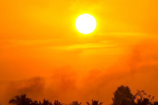 Global warming from the sun and burning, heat wave hot sun Premium Photo