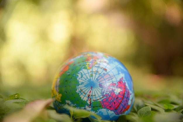 Globe ball on the natural green leaves ground and green bokeh background. world environment day concept. Premium Photo