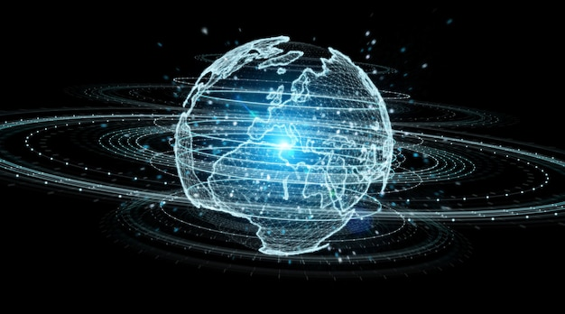 Globe network hologram with europe map 3d rendering Premium Photo