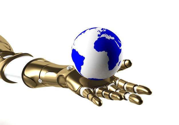 Globe in robot hand, 3d rendering Premium Photo