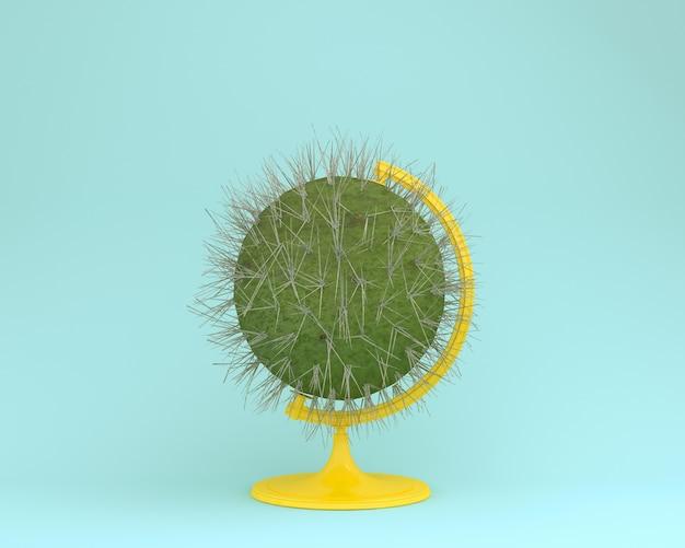 Globe sphere orb cactus concept on pastel blue background. minimal  concept. Premium Photo