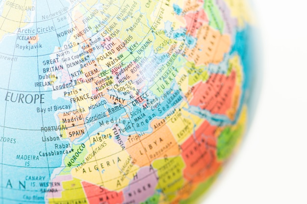 A globe with map of europe background Premium Photo