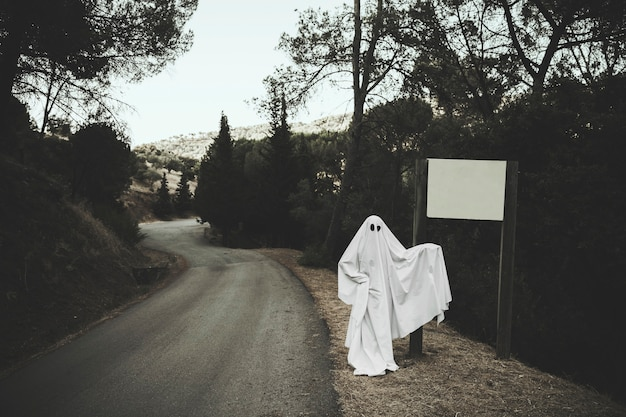 Gloomy ghost standing near sign board in forest Free Photo