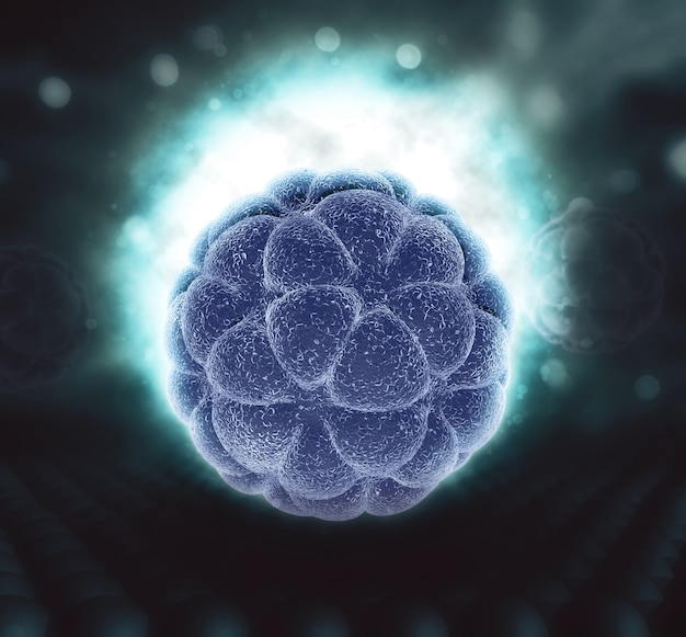 Glowing abstract virus cell Free Photo
