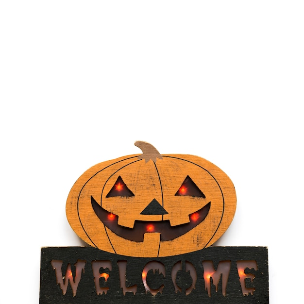 Glowing halloween decoration with writing Free Photo
