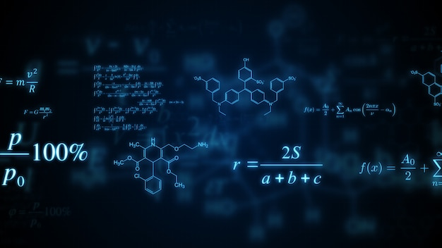 Glowing mathematical, physical and chemical formulas. Premium Photo