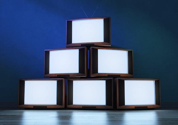 輝く古いテレビ受信機、3d Premium写真