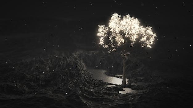 山の中で輝く木 Premium写真