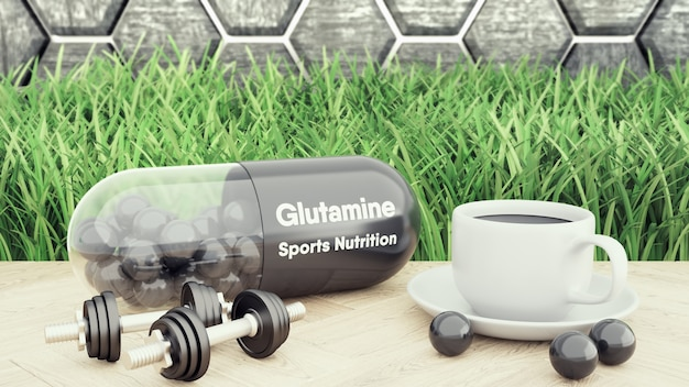 Glutaminebig pill, two dumbbells and a cup of coffee Premium Photo