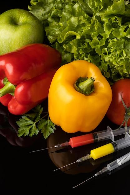 Gmo 화학 수정 식품 높은보기 무료 사진