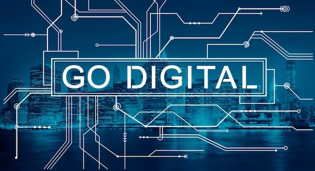 Цифровые технологии с проводами на фоне нью-йорка Бесплатные Фотографии