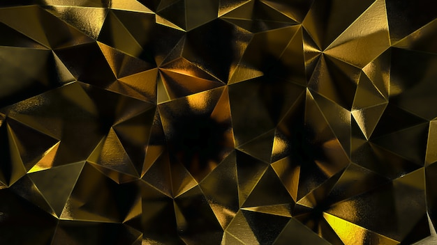 Gold abstract polygonal background Premium Photo