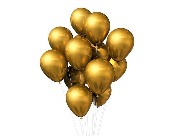 Gold balloons isolated Premium Photo
