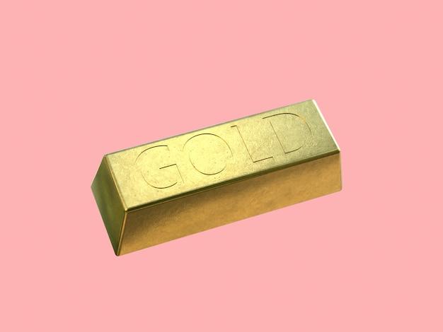Золотой слиток квадрат золотой блестящий 3d рендеринг розовый фон Premium Фотографии