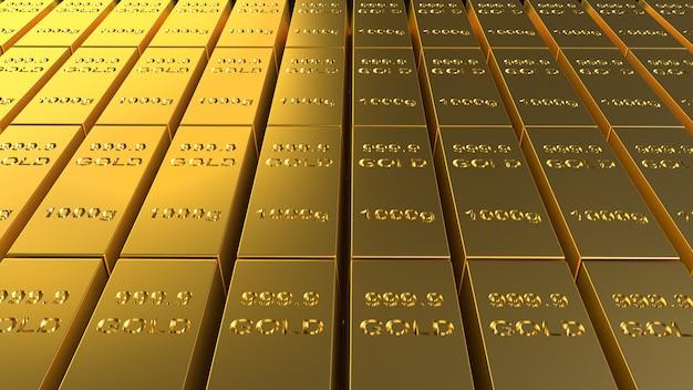Золото в слитках 1000 грамм 3d-рендеринга для бизнеса и финансов. Premium Фотографии