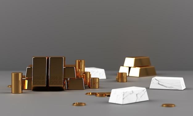 Золотые слитки монеты и богатство с мраморной текстурой геометрической 3d-рендеринга Premium Фотографии