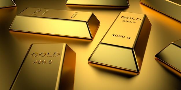 Золотые слитки сложены Premium Фотографии