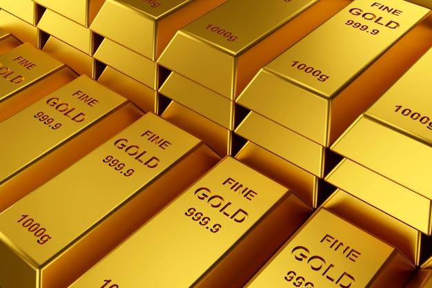 Gold bars for website banner. Premium Photo