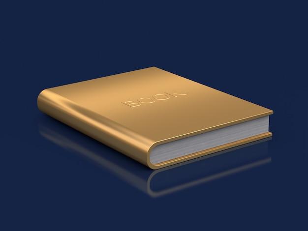 Gold book on floor reflection 3d rendering Premium Photo