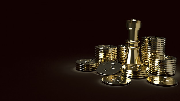 Gold chess and coins abstract image 3d rendering for business content Premium Photo
