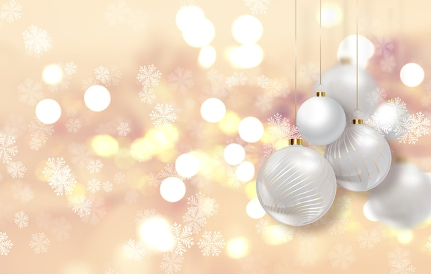 Gold christmas background with hanging baubles Free Photo