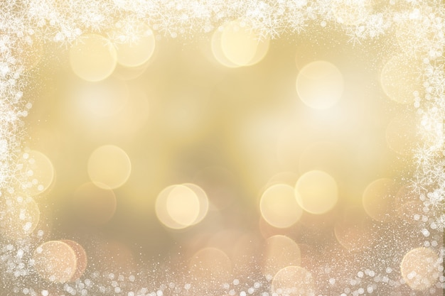 Christmas Background Images Gold.Gold Christmas Background With Snowy Border Photo Free