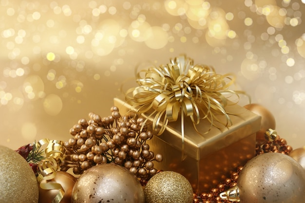 gold christmas decorations background premium photo