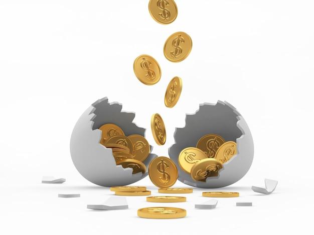 金貨は白い壊れた卵の殻に落ちる Premium写真