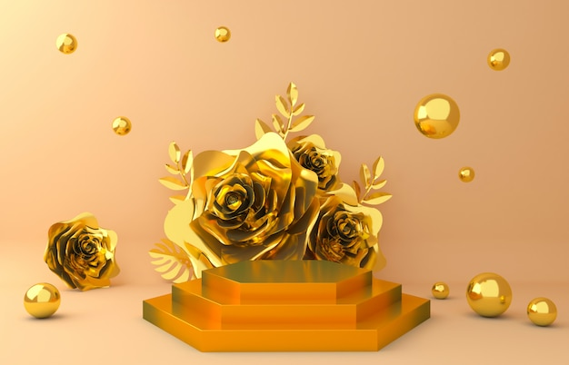 Gold display background for cosmetic product presentation. empty showcase,  3d flower paper illustration rendering. Premium Photo