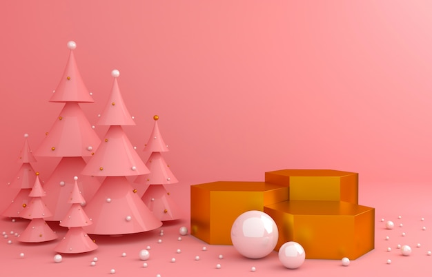 Gold display background and pink pine for product presentation Premium Photo