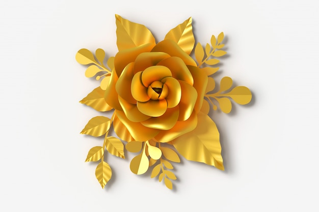 Gold flower paper style, 3d rendering Premium Photo