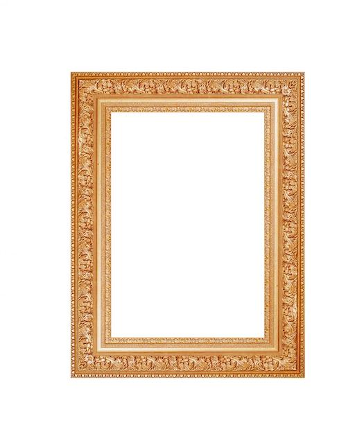Gold frame on white Premium Photo