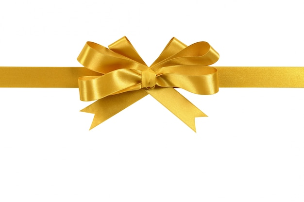 gold gift ribbon bow isolated on white background photo free download