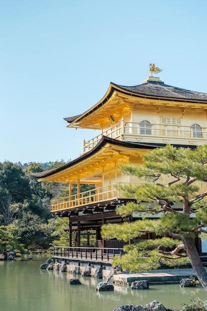 Gold gingakuji temple in kyoto, japan Free Photo