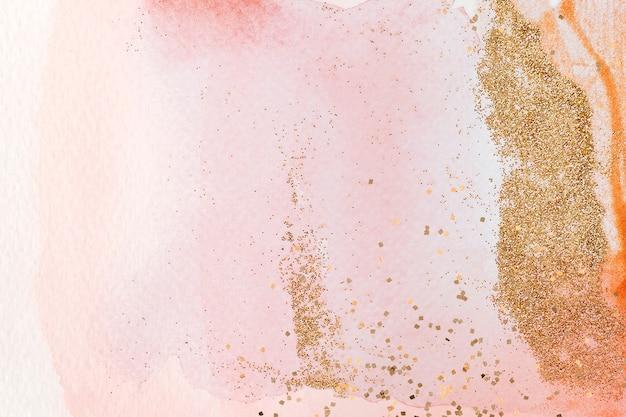 핑크 수채화에 골드 반짝이 무료 사진