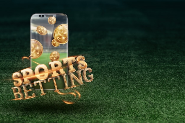 Gold inscription sports betting on a smartphone on a background of green grass. Premium Photo