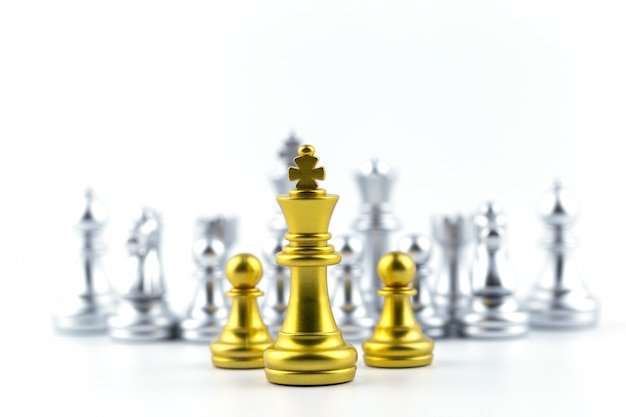 Gold king in chess game with concept for company strategy. Premium Photo