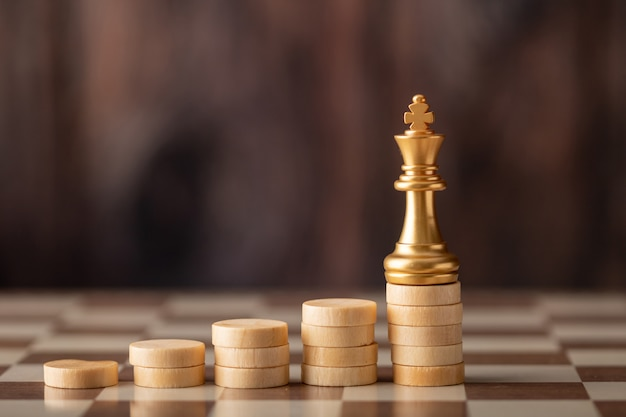 Gold king on the step chip on board Premium Photo