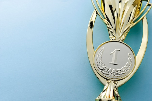 Gold medallion winners trophy for a competition Premium Photo