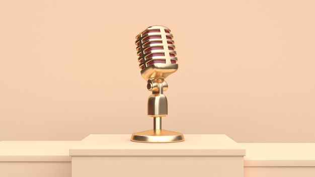 Gold microphone 3d render Premium Photo