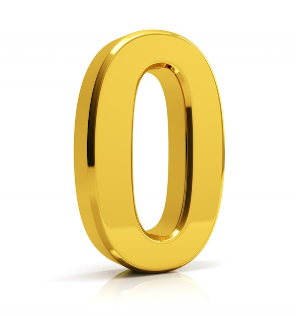 Gold number 0 Premium Photo