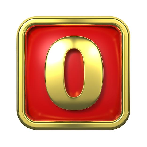 赤い背景の上のフレームの金の数字。番号0 Premium写真