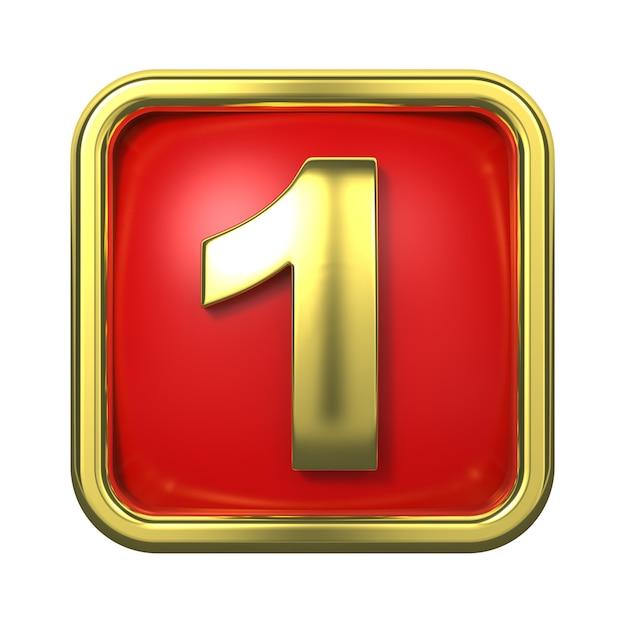 赤い背景の上のフレームの金の数字。ナンバー1 Premium写真