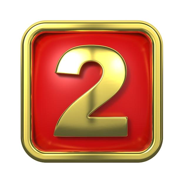 赤い背景の上のフレームの金の数字。 2番 Premium写真